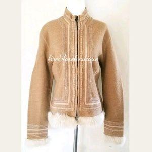 Worth fur trim wool coat sz L